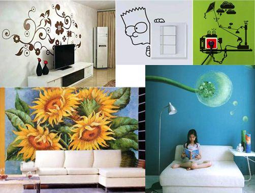 """是设计师将为客户量身定做的装饰图案手绘到墙面上,所用的""""丙烯""""画材"""