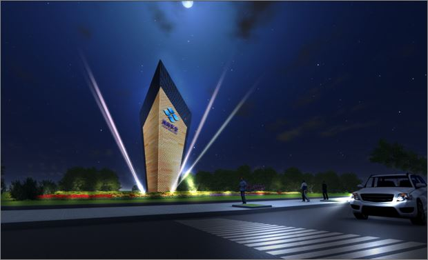 夜间的灯光效果使其成为道路景观的新亮点.